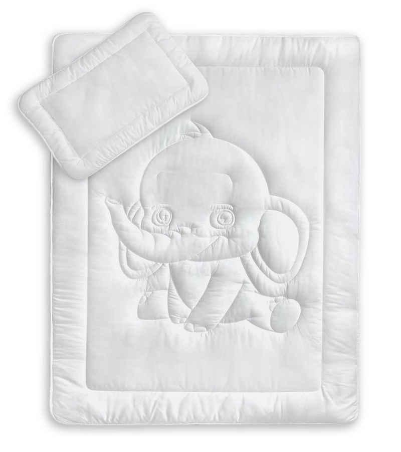 Kinderbettdecke + Kopfkissen, »Kinderbettenset mit Elefantensteppung«, KiGATEX, 2-teilig