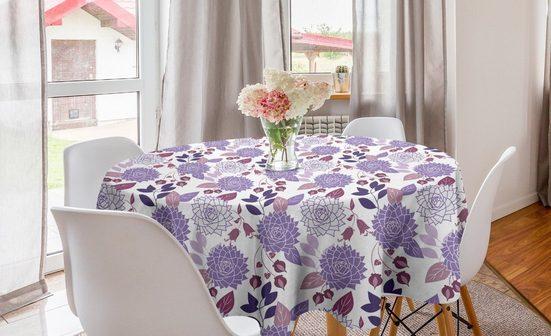 Abakuhaus Tischdecke »Kreis Tischdecke Abdeckung für Esszimmer Küche Dekoration«, Lila Botanische Blumen Zeichnungen
