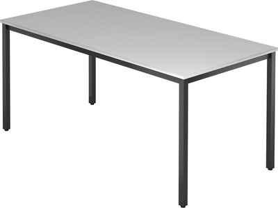 bümö Konferenztisch »OM-DQ16-D«, Meetingtisch & Besprechungstisch System - Rechteck: 160 x 80 cm - Gestell: Schwarz, Dekor: Grau
