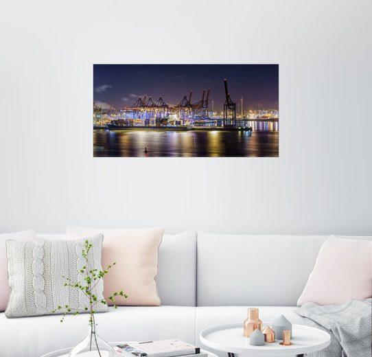 Posterlounge Wandbild, Nacht im Hamburger Hafen