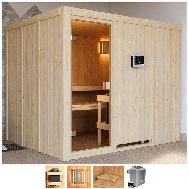 Saunen und Zubehör - Karibu Sauna »Nando«, BxTxH 231 x 196 x 198 cm, 68 mm, 9 kW Ofen mit ext. Steuerung  - Onlineshop OTTO