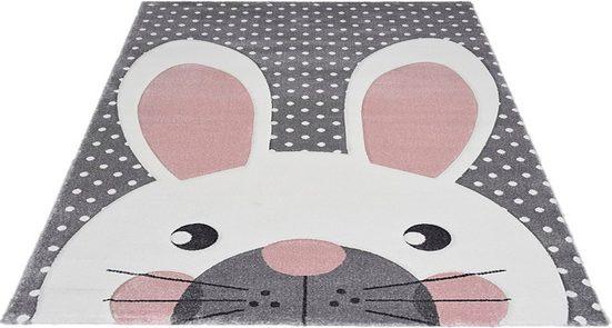 Kinderteppich »Pastel Kids«, merinos, rechteckig, Höhe 13 mm, Hasen Motiv, handgearbeiteter Konturenschnitt