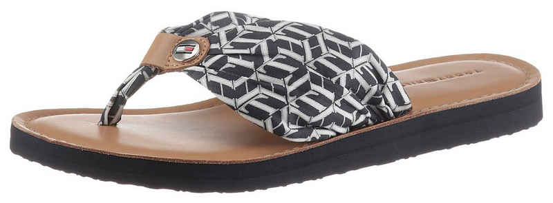Tommy Hilfiger »LEATHER FOOTBED TH BEACH SANDAL« Zehentrenner mit TH Logo