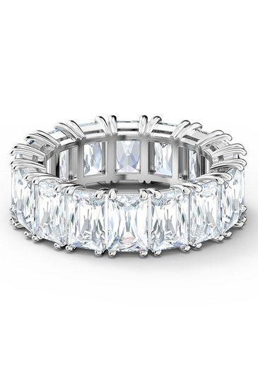 Swarovski Fingerring »Vittore Wide, weiss, rhodiniert, 5562129, 5572686, 5572689, 5572695, 5572699«, mit Swarovski® Kristallen