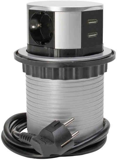 Kopp »TSD.Turm,3f.+USB,+Zul« Steckdosenleiste 4-fach (Ein- / Ausschalter, USB-Anschluss, Kindersicherung, Schutzkontaktstecker, Kabellänge 1,4 m)