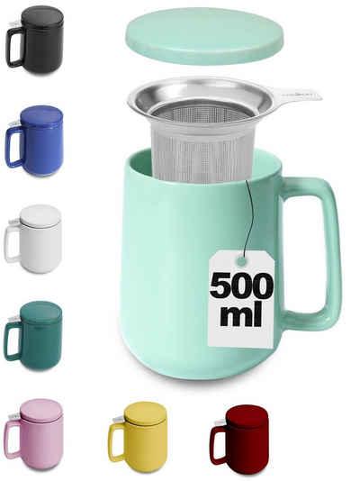 Cosumy Teeglas »Teetasse mit Sieb und Deckel Türkis 500ml«, Keramik, Hält Lange warm - 500ml XXL Groß - Spülmaschinenfest