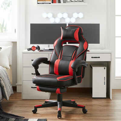 SONGMICS Bürostuhl »OBG073B03 OBG073B04 OBG73BRV1 OBG73BW«, Gaming Stuhl, Schreibtischstuhl, ergonomisch mit Fußstützen, 67 x 66 x 116-126 cm (L x B x H)