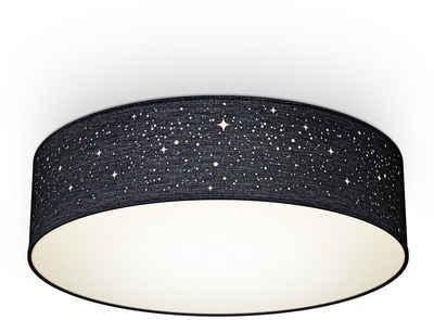B.K.Licht Deckenleuchte, Textil-Sternenhimmel, Schwarz, Ø38cm, 2-flammig E27, Stoffdeckenleuchte rund, Schlafzimmerlampe, Textilschirm, ohne Leuchtmittel