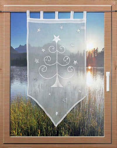 Scheibengardine »WEIHNACHTSBAUM«, HOSSNER - ART OF HOME DECO, Schlaufen (1 Stück), passend zu allen Einrichtungsstilen
