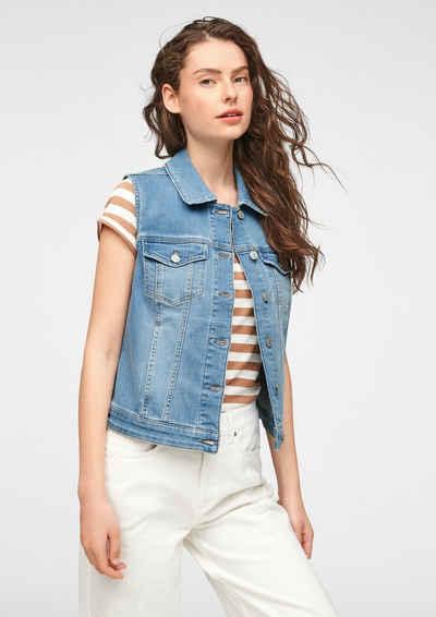 comma casual identity Jackenblazer »Jeansweste mit Leder-Patch« Leder-Patch