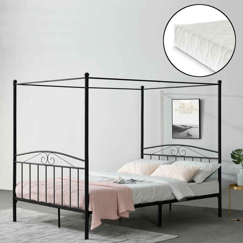 en.casa Himmelbett, »Tournai« Metallbett Doppelbett mit Kaltschaummatratze schwarz 180x200cm