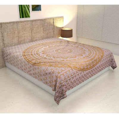 Bettüberwurf »Doppelbett Überwurf Mandala Amba 220x240 cm, Wanddekoration Tagesdecke dekorativer Wandteppich Boho-Stil, «, Casa Moro, Handmade