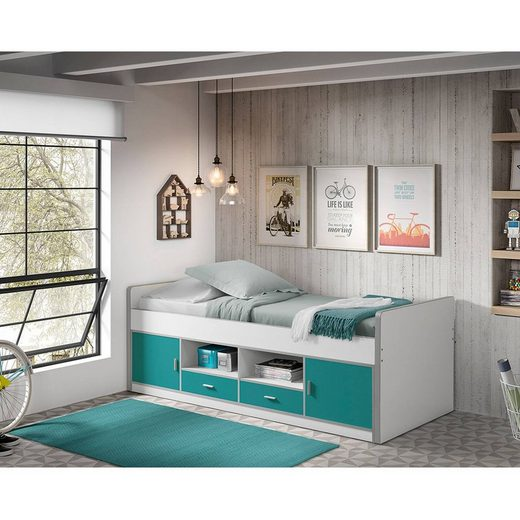 Vipack Kinderbett, Jugendbett BONNY-12, 90x200cm, Weiß Türkis