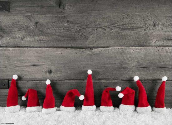 Platzset, »Tischsets I Platzsets - Weihnachten - Weihnachtsdeko - Rote Zipfelmützen im Schnee - 12 Stück aus hochwertigem Papier 44 x 32 cm«, Tischsetmacher, (12-St)