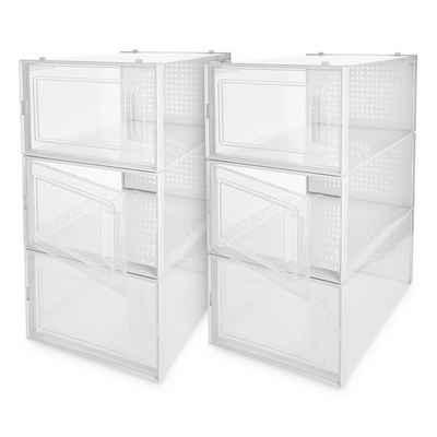 Navaris Schuhbox, Schuhkarton Schuhkasten Aufbewahrung Set mit 6 Boxen- transparente Seiten und Frontöffnung - platzsparend und stapelbar