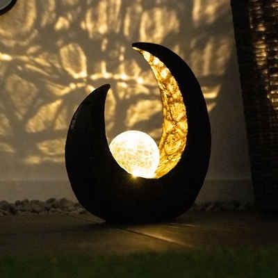etc-shop LED Dekolicht, LED Mondsichel Solar Lampe Garten Steh Boden Beleuchtung Glas Kugel Leuchte Veranda Weg Terrasse Einfahrt Solarleuchte Wegleuchte