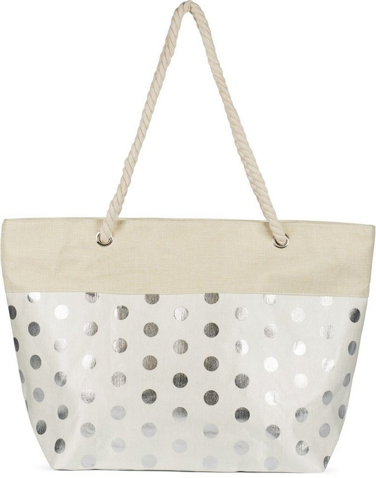 stylebreaker -  Strandtasche, Strandtasche mit metallic Punkte