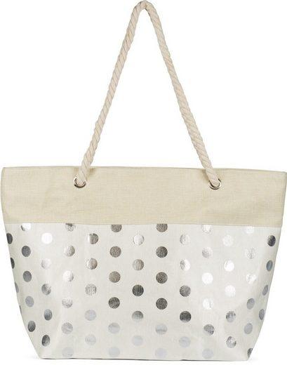 styleBREAKER Strandtasche, Strandtasche mit metallic Punkte
