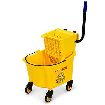 COSTWAY Putzwagen »Reinigungswagen Wischmop Eimer Einfachfahreimer Minifahrwagen«, mit Moppresse und -Halterung, mit 24L Eimer, fahrbar, für Schulen, Büros, Restaurants
