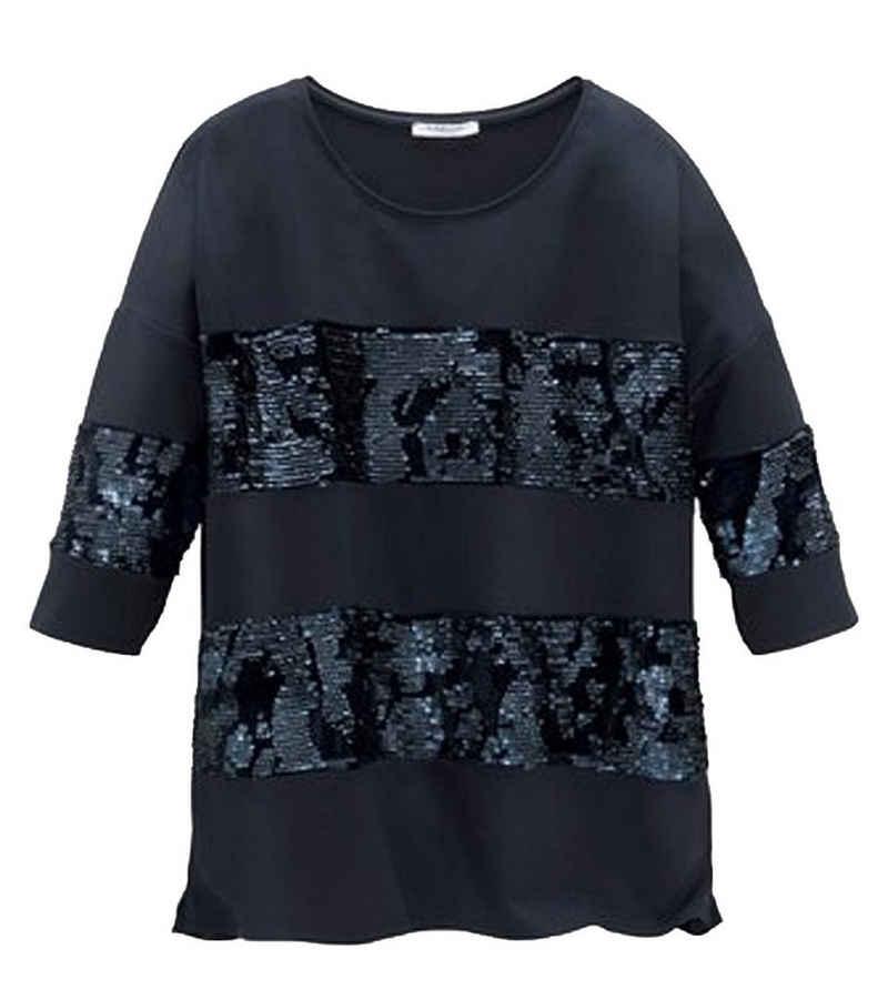 GUIDO MARIA KRETSCHMER T-Shirt »GUIDO MARIA KRETSCHMER 3/4 Arm Shirt exklusives Damen T-Shirt mit Pailletten Mode-Shirt Blau«