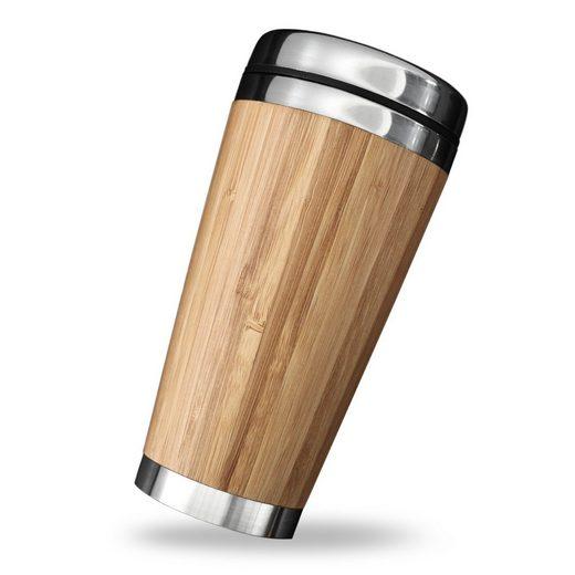 PRECORN Coffee-to-go-Becher »Kaffeebecher für unterwegs Coffee To Go Becher Thermobecher 450 ml doppelwandig aus Edelstahl Bambus«