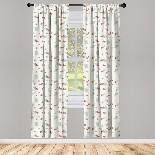 Gardine »Fensterbehandlungen 2 Panel Set für Wohnzimmer Schlafzimmer Dekor«, Abakuhaus, Botanik Kieferzweige Beeren Cones