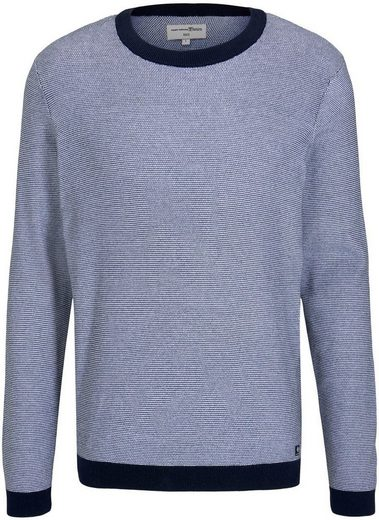 TOM TAILOR Denim Wollpullover mit Kontrast am Bund