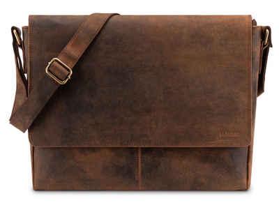 LEABAGS Umhängetasche »Acapulco«, Umhängetasche Aktentasche Laptoptasche 15 Zoll aus echtem Leder im Vintage Look