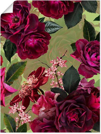 Artland Wandbild »Dunkle Rosen auf Grün«, Blumenbilder (1 Stück), in vielen Größen & Produktarten - Alubild / Outdoorbild für den Außenbereich, Leinwandbild, Poster, Wandaufkleber / Wandtattoo auch für Badezimmer geeignet