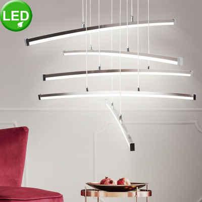 WOFI Hängeleuchte, 24W LED Decken Hänge Strahler 5 Leucht Stäbe Chrom Pendel Lampe Wofi 7035.05.54.5000