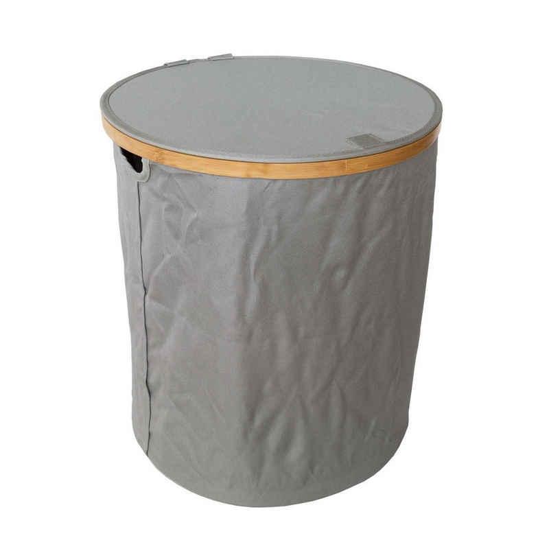 SOSmart24 Wäschekorb »SOSmart24 SO SMART Faltbarer Wäschekorb Rund mit Deckel aus Stoff - Grau - 60 L Volumen - Rahmen aus Bambus - Klappbarer Wäschesammler zusammenklappbar Wäschetonne Wäschesack Wäschetruhe faltbar« (1 Stück)