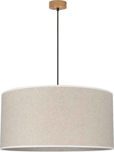 OTTO products Hängeleuchte »Emmo«, Pendelleuchte mit hochwertigem Textilschirm Ø 50 cm, Baldachin aus Kiefernholz, Nachhaltig mit FSC®-Zertifikat, Made in Europe