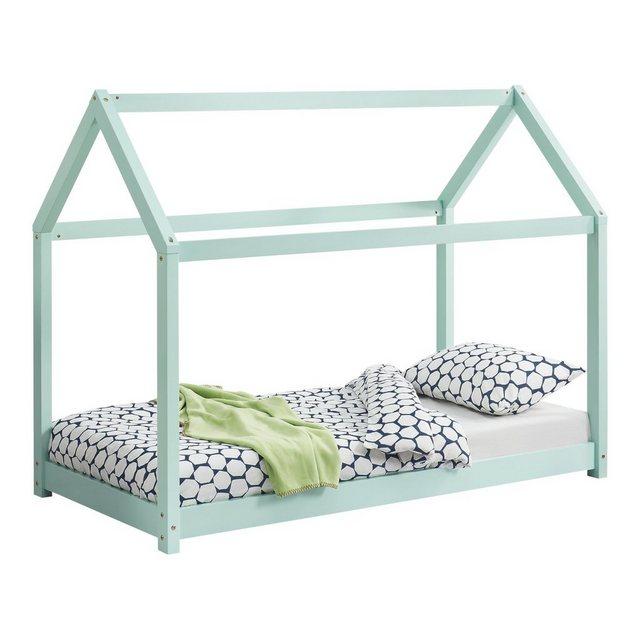 Kinderbetten - en.casa Kinderbett, Kinderbett 70x140cm Haus Kiefernholz Mintgrün Bettenhaus Hausbett Kinder Bett »  - Onlineshop OTTO
