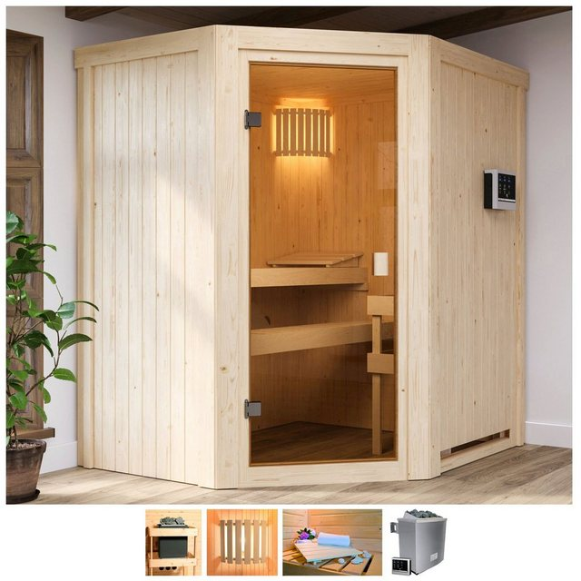 Saunen und Zubehör - Karibu Sauna »Fedder«, BxTxH 170 x 151 x 198 cm, 68 mm, 4,5 kW Ofen mit ext. Steuerung  - Onlineshop OTTO