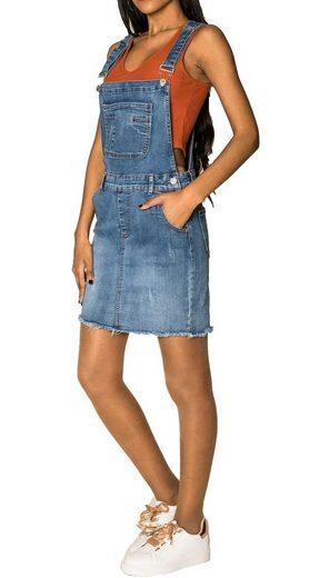 Nina Carter Sommerrock »3529« (1-tlg) Damen Denim Jeans Latzrock Basic Fransen Latzkleid Overall