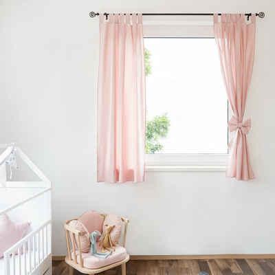 Vorhang »JANA«, Alcube, Vorhänge Kurz 2er-Set für Kinderzimmer Wohnzimmer Schlafzimmer Dekor Schlaufenschal (2 Stück) aus Baumwolle mit niedlicher Schleife