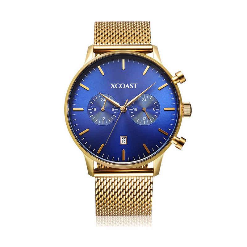 XCOAST Quarzuhr »570204 STORMBREAKER Gold/Blue«, Eleganter Chronograph mit Edelstahl Mesh-Armband