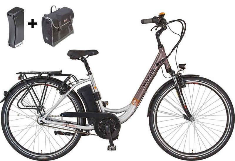 Prophete E-Bike »Navigator Pro«, 7 Gang Shimano Nexus Schaltwerk, Nabenschaltung, Mittelmotor 250 W, (Set, mit Ersatzakku, mit Seitentasche)