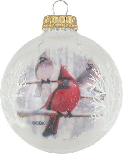 Krebs Glas Lauscha Weihnachtsbaumkugel »CBK77668« (4 Stück), mit Vogel Dekor, Kardinal