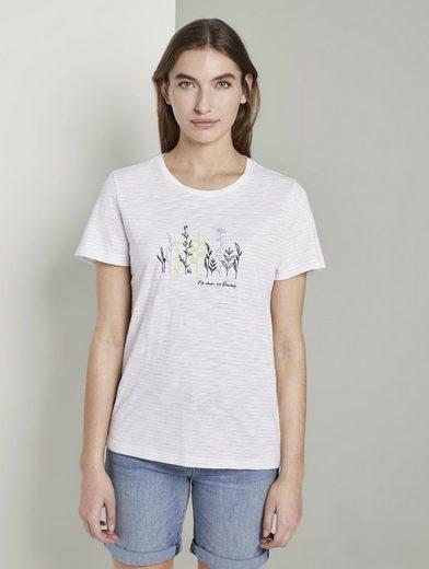 TOM TAILOR T-Shirt »Gestreiftes T-Shirt mit floralem Print«