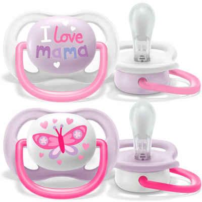 Philips AVENT Schnuller »SCF080/02«, ultra air Schnuller, 0 bis 6 Monate Girl, Kiefergerecht und BPA-frei, Doppelpack, Mama/Schmetterling