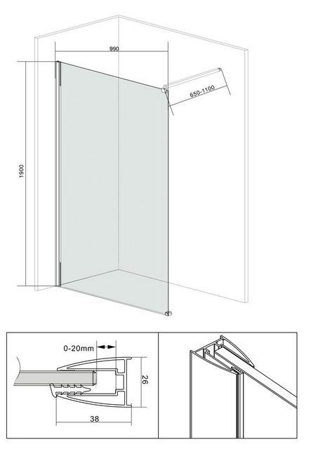 Duschen und Zubehör - welltime Duschwand »Duschabtrennung«, Sicherheitsglas, Breite 100 cm, Grauglas  - Onlineshop OTTO