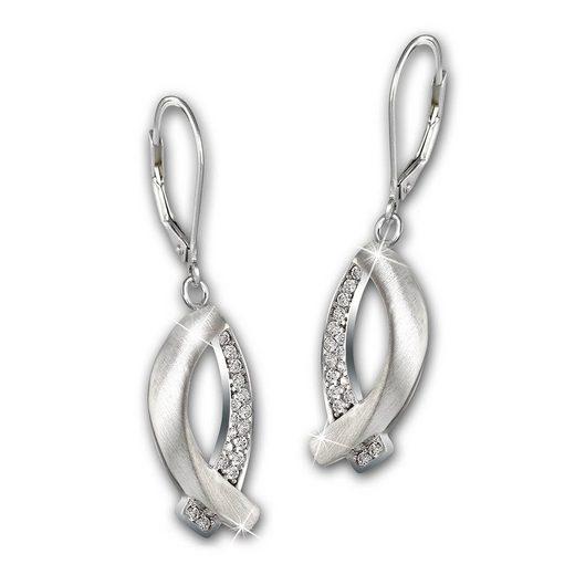 SilberDream Paar Ohrhänger »SDO4336W SilberDream Ohrringe 925 Echt Silber« (Ohrhänger), Damen Ohrhänger Fisch aus 925 Sterling Silber, Farbe: silber