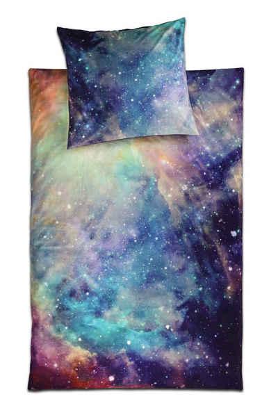Jugendbettwäsche, jilda-tex, weich, warm und kuschlig im tollem Galaxie-Motiv