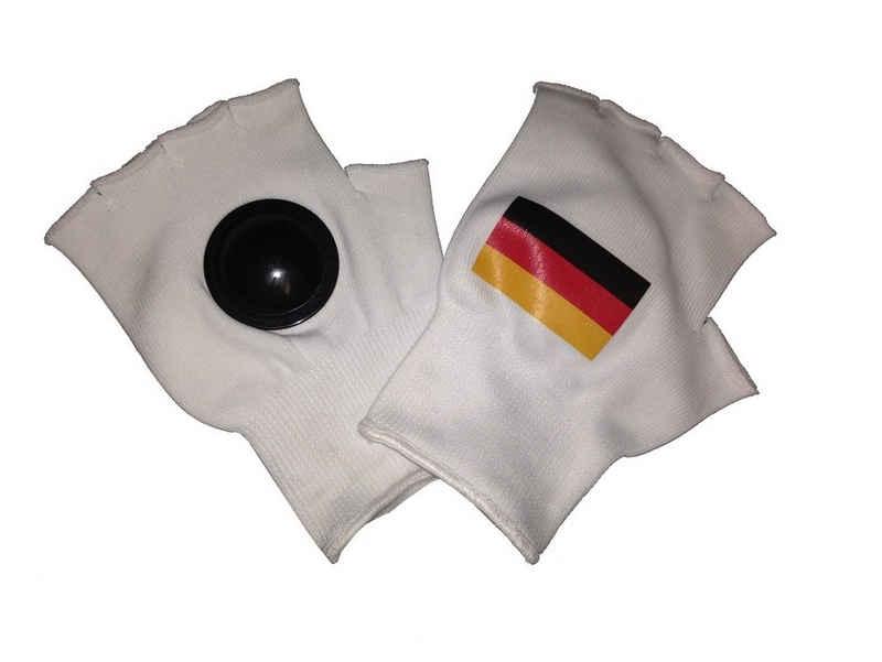 trends4cents Trikot-Handschuhe »Clip-Clappers Klatsch Handschuhe mit Deutschland Fahne Gr. Uni Klatschhandschuhe Fanhandschuhe Fan Stadion WM EM Fussball Handball Tennis Rugby Football« in der Handfläche eingenähte Hartplastik-Halbkugeln