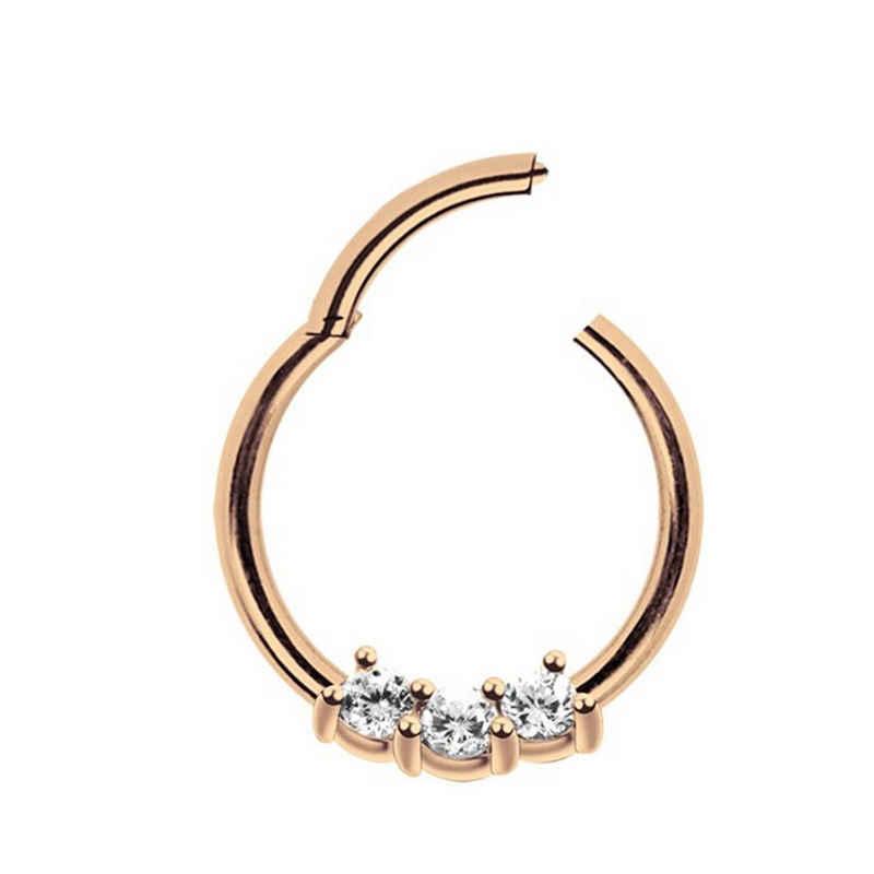 Adelia´s Nasenpiercing »Piercing Ring Smooth Segment Clicker mit Stein, Rosegold«, mit drei klaren gefassten Kristallen in 2 mm