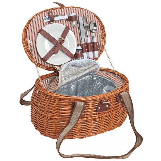 matches21 HOME & HOBBY Picknickkorb »Picknickkorb Weidenkorb 15-tlg. Braun / weiß«, Für 2 Personen / Geschirr, Besteck, Zubehör, Kühltasche