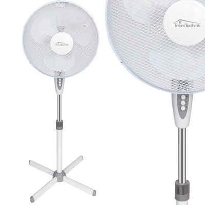 TroniTechnik Standventilator Standventilator SV04, 40 cm Durchmesser, Ventilator oszillierend, 3 Geschwindigkeiten, einstellbare Höhe bis 125cm, verstellbarer Neigungswinkel, weiß 45 Watt
