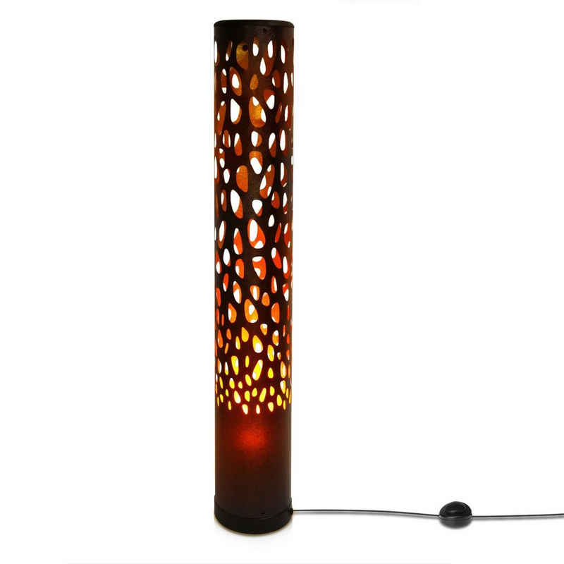 Navaris LED Stehlampe, LED Stehleuchte röhrenförmig mit Flammeneffekt - inkl. E14 LED Leuchtmittel - warmweiß - 3W - 80 x 13 x 13cm - Ausgefallene Deko Standlampe