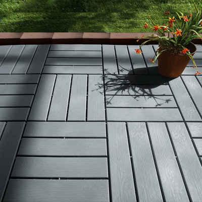 MAXXMEE Terrassenplatten, 31x31 cm, 12er Set, 12-St., Holz-Optik mit UV-Schutz grau